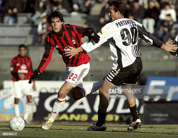 Ricardo Kaka goes past Daniele Portanova during the Serie A match between Siena and AC Milan at the Stadio Artemio Franchi on January 22 2006 in...
