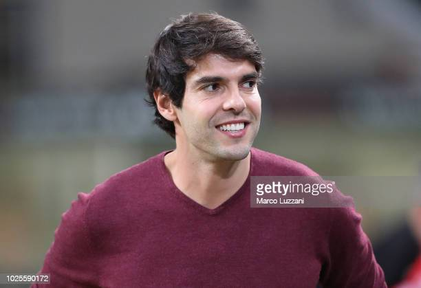 Ricardo Kaka looks on before the serie A match between AC Milan and AS Roma at Stadio Giuseppe Meazza on August 31 2018 in Milan Italy