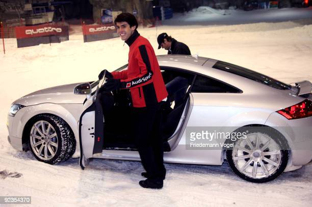 Ricardo Kaka looks on during the Audi Car Handover and Snow Driving Experience with Real Madrid at the Snowzone on October 26 2009 in Madrid Spain