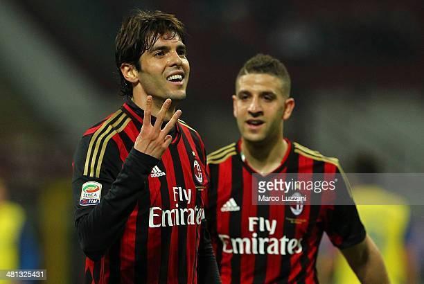 Ricardo Kaka of AC Milan celebrates after scoring his goal during the Serie A match between AC Milan and AC Chievo Verona at San Siro Stadium on...