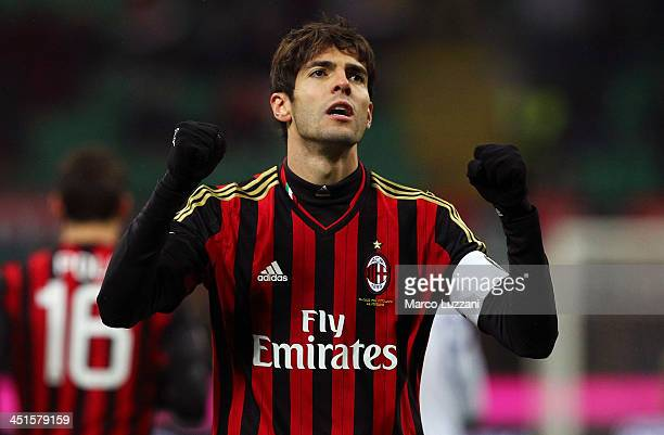 Ricardo Kaka of AC Milan celebrates after scoring the opening goal during the Serie A match between AC Milan and Genoa CFC at Stadio Giuseppe Meazza...