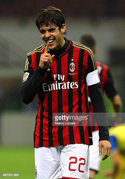Ricardo Kaka of AC Milan celebrates his goal during the Serie A match between AC Milan and AC Chievo Verona at San Siro Stadium on March 29 2014 in...