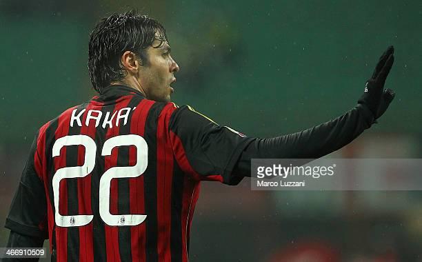 Ricardo Kaka of AC Milan gestures during the Serie A match between AC Milan and Torino FC at San Siro Stadium on February 1 2014 in Milan Italy