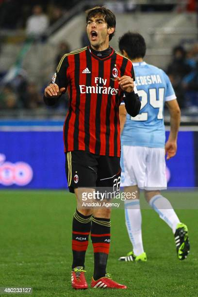 Ricardo Kaka of AC Milan reacts during the Serie A football match between SS Lazio and AC Milan at Stadio Olimpico in Rome Italy on March 23 2014