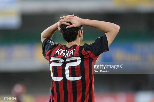 Ricardo Kaka of AC Milan shows his dejection during the Serie A match between AC Chievo Verona and AC Milan at Stadio Marc'Antonio Bentegodi on...