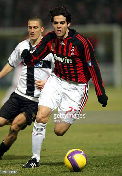 Ricardo Kaka of Milan in action during the Serie A match between Parma and Milan at the Stadio Tardini on Febraury 16, 2008 in Parma, Italy.