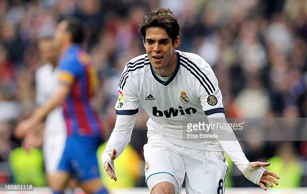 Ricardo Kaka of Real Madrid celebrates after scoring during the La Liga match between Real Madrid and Levante at Estadio Santiago Bernabeu on April 6...