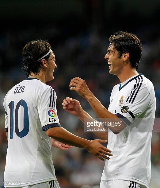 Ricardo Kaka of Real Madrid celebrates whith Mesut Ozil his second goal during the Santiago Bernabeu Trophy match between Real Madrid and Millonarios...