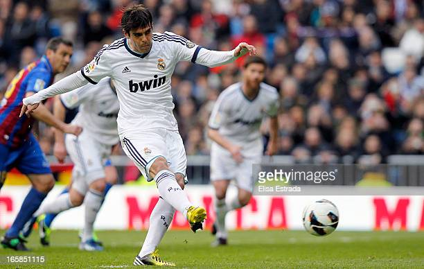 Ricardo Kaka of Real Madrid scores during the La Liga match between Real Madrid and Levante at Estadio Santiago Bernabeu on April 6 2013 in Madrid...