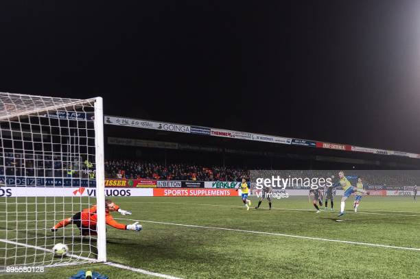Ricardo Kip of SC Cambuur scoresd a penalty during the Dutch Cup third round match between SC Cambuur Leeuwarden and GVVV at the Cambuur Stadium on...