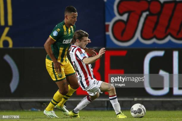 Ricardo Kishna of ADO Den Haag Daniel Crowley of Willem II during the Dutch Eredivisie match between Willem II Tilburg and ADO Den Haag at Koning...