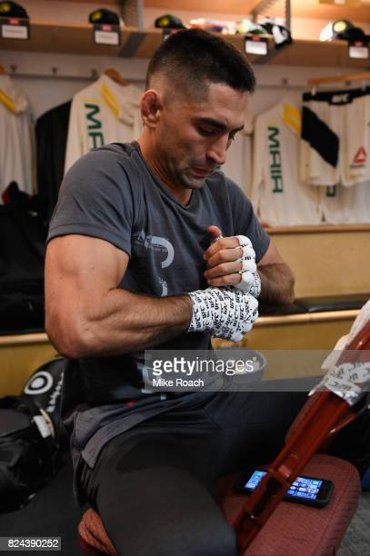 Ricardo Lamas warms up prior to his bout against Jason Knight during the UFC 214 event at Honda Center on July 29 2017 in Anaheim California