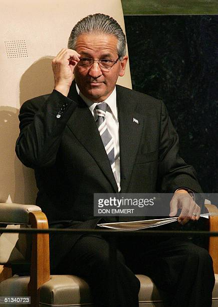 Ricardo Maduro President of Honduras adjusts his glasses after his speech 23 September 2004 at the United Nations headquarters in New York City...