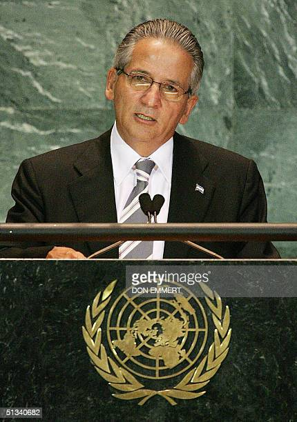 Ricardo Maduro President of Honduras speaks 23 September 2004 at the United Nations headquarters in New York City during the 59th United Nations...