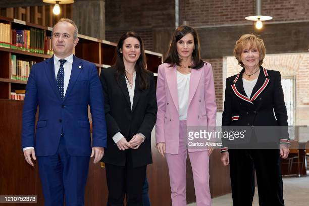 Ricardo Mairal Minister of Equality Irene Montero Queen Letizia of Spain and APRAM president Rocio Nieto attend a meeting with APRAMP on March 06...