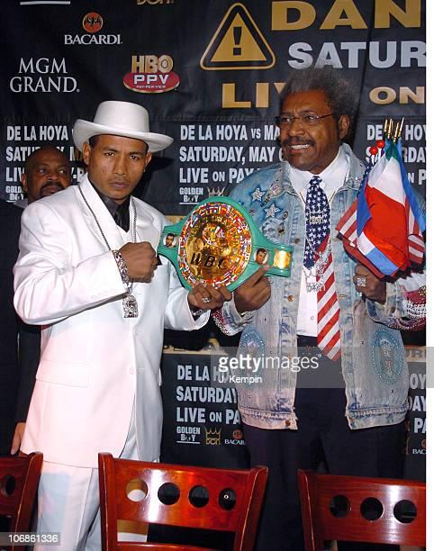 Ricardo Mayorga and Don King during Oscar De La Hoya And Ricardo Mayorga Press Conference For World Super Welterweight Championship March 2 2006 at...