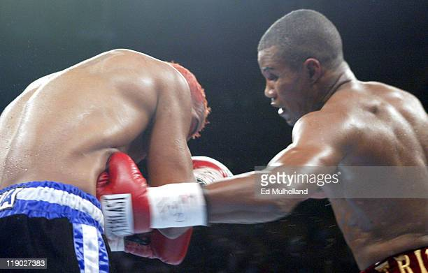 Ricardo Mayorga is hit with a vicious left to the body by Felix Trinidad at Madison Square Garden In an explosive display of power Trinidad scored an...