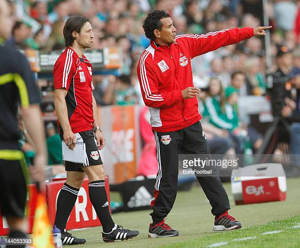 Ricardo Moniz head coach of FC Salzburg looks on during the Austrian Football Bundesliga match between SK Rapid Wien and FC Salzburg held on May 6...