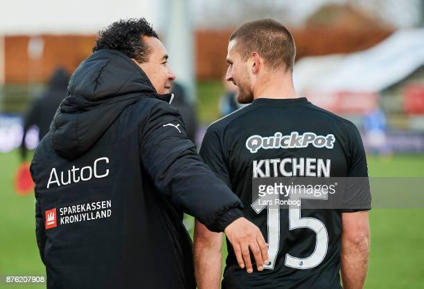 Ricardo Moniz head coach of Randers FC and Perry Kitchen of Randers FC celebrate after the Danish Alka Superliga match between Lyngby BK and Randers...