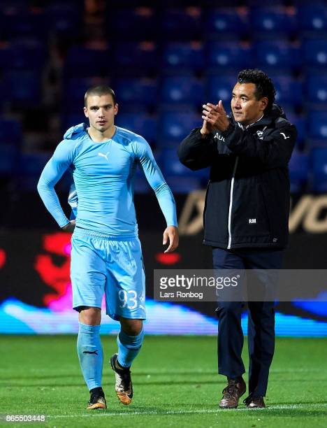Ricardo Moniz head coach of Randers FC applause the fans with Vladimir Rodic of Randers FC after the Danish Alka Superliga match between Randers FC...