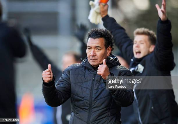 Ricardo Moniz head coach of Randers FC celebrates after scoring their third goal during the Danish Alka Superliga match between Lyngby BK and Randers...