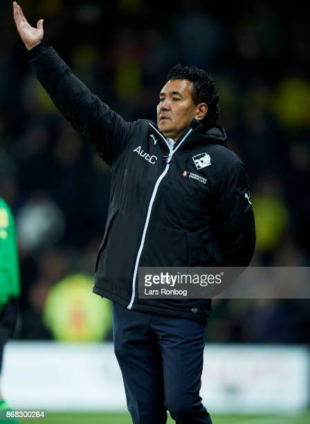 Ricardo Moniz head coach of Randers FC gestures during the Danish Alka Superliga match between Brondby IF and Randers FC at Brondby Stadion on...