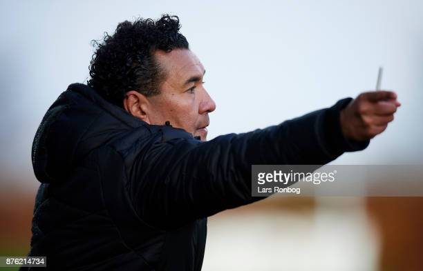 Ricardo Moniz head coach of Randers FC gestures during the Danish Alka Superliga match between Lyngby BK and Randers FC at Lyngby Stadion on November...