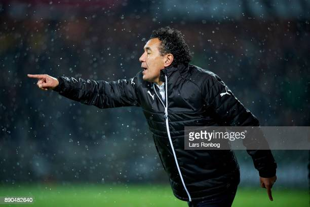 Ricardo Moniz head coach of Randers FC gestures during the Danish Alka Superliga match between Randers FC and FC Midtjylland at BioNutria Park on...