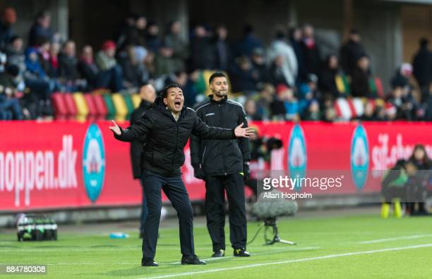 Ricardo Moniz head coach of Randers FC in action during the Danish Alka Superliga match between Silkeborg IF and Randers FC at Jysk Park on December...