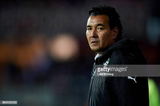 Ricardo Moniz head coach of Randers FC looks on during the Danish Alka Superliga match between Randers FC and AaB Aalborg at BioNutria Park on...