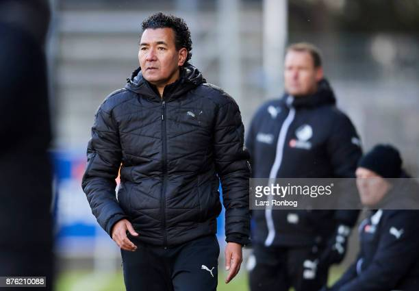 Ricardo Moniz head coach of Randers FC looks on during the Danish Alka Superliga match between Lyngby BK and Randers FC at Lyngby Stadion on November...