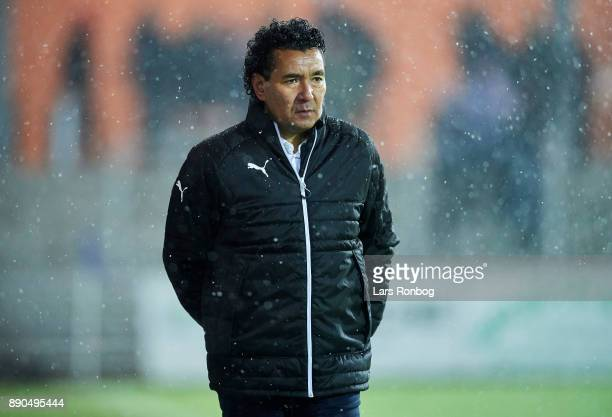 Ricardo Moniz head coach of Randers FC looks on during the Danish Alka Superliga match between Randers FC and FC Midtjylland at BioNutria Park on...