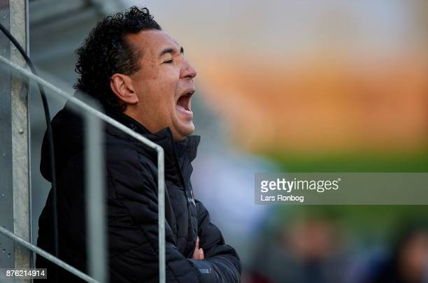 Ricardo Moniz head coach of Randers FC shouts during the Danish Alka Superliga match between Lyngby BK and Randers FC at Lyngby Stadion on November...