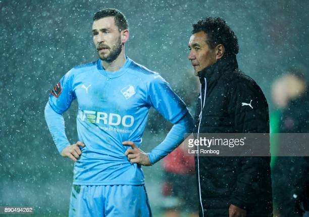 Ricardo Moniz head coach of Randers FC speaks to Kevin Conboy of Randers FC during the Danish Alka Superliga match between AaB Aalborg and FC...