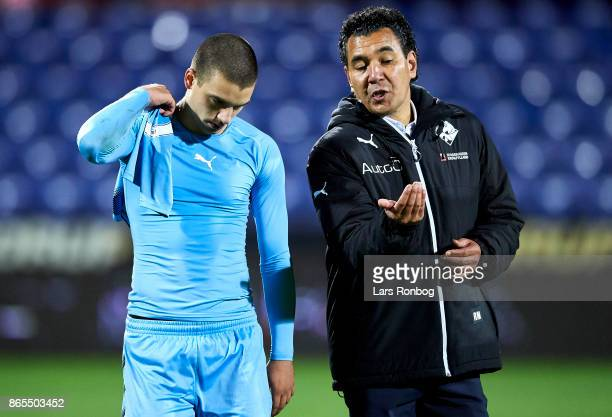 Ricardo Moniz head coach of Randers FC speaks to Vladimir Rodic of Randers FC after the Danish Alka Superliga match between Randers FC and AaB...