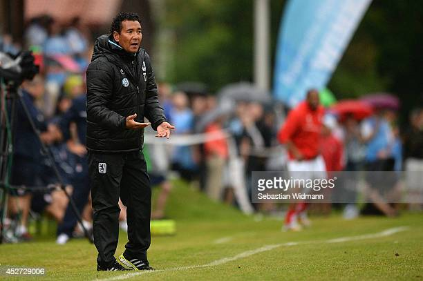 Ricardo Moniz headcoach of 1860 Muenchen gestures on the sideline during a pre season friendly against Stoke City on July 26 2014 in Reit im Winkl...