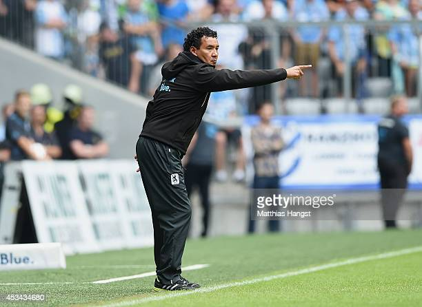 Ricardo Moniz of 1860 Muenchen gestures during the Second Bundesliga match between TSV 1860 Muenchen and RB Leipzig at Allianz Arena on August 10...