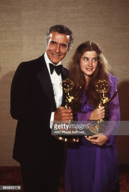 Ricardo Montalban and Blanche Baker hold their Emmy awards in the press room at The 30th Primetime Emmy Awards on September17 1978 at Pasadena Civic...