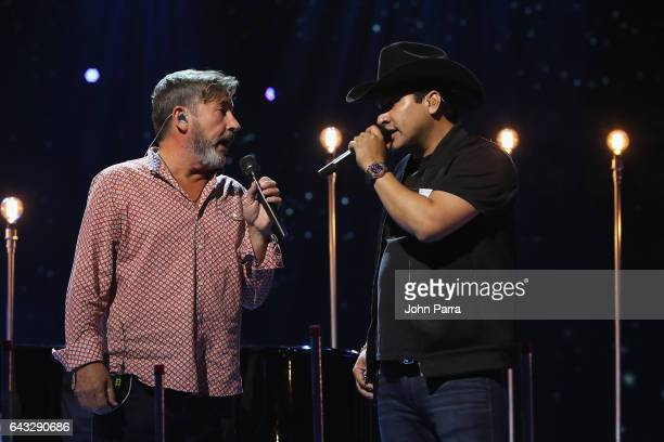 Ricardo Montaner and Julion Alvarez rehearse on stage at Univision's 29th Edition Of Premio Lo Nuestro A La Musica Latina Rehearsals Day 1 on...