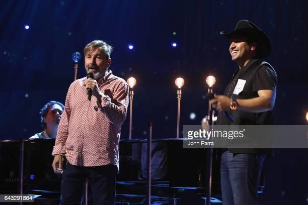 Ricardo Montaner and Julion Alvarez rehearse on stage at Univision's 29th Edition Of Premio Lo Nuestro A La Musica Latina Rehearsals Day 1 on...