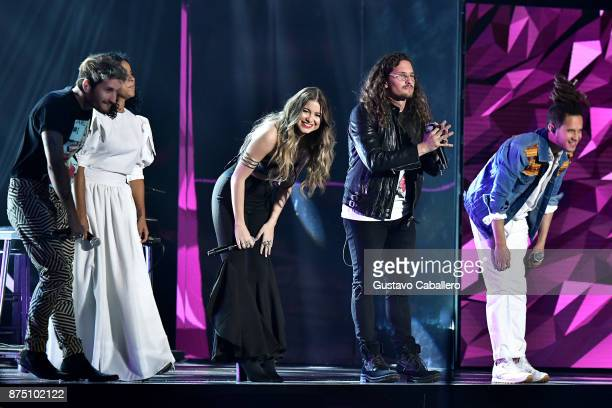 Ricardo Montaner of Mau Ricky Danay Suarez Sofia Reyes Mauricio Montaner of Mau Ricky and Vicente Garcia perform onstage during The 18th Annual Latin...