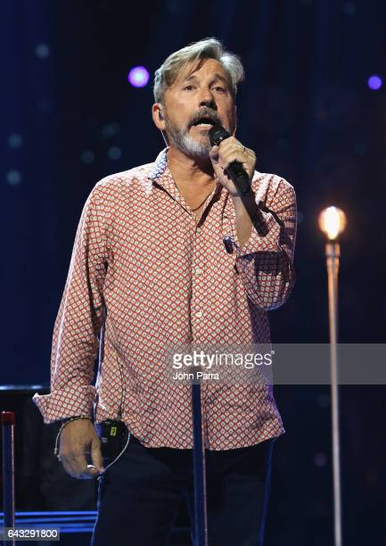 Ricardo Montaner rehearses on stage at Univision's 29th Edition Of Premio Lo Nuestro A La Musica Latina Rehearsals Day 1 on February 20 2017 in Miami...