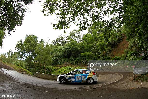 Ricardo Moura and Antonio Costa in Ford Fiesta R5 during the shakedow of the FIA ERC Azores Airlines Rallye 2016 in Ponta Delgada Azores Portugal on...