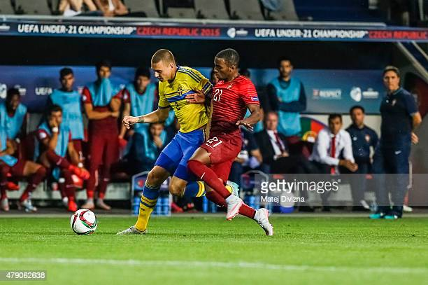 Ricardo of Portugal battles for the ball with Victor Lindelof of Sweden during UEFA U21 European Championship final match between Portugal and Sweden...