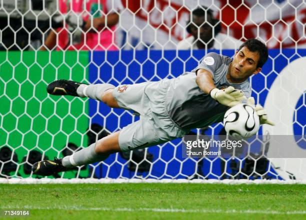 Ricardo of Portugal saves a penalty from Frank Lampard in a penalty shootout during the FIFA World Cup Germany 2006 Quarterfinal match between...