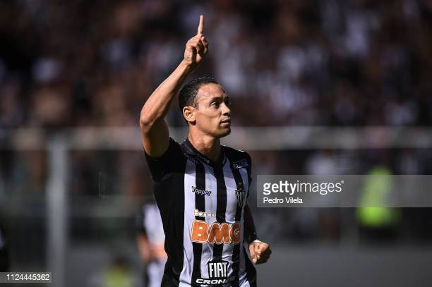 Ricardo Oliveira of Atletico MG celebrates a scored goal against Danubio during a match between Atletico MG and Danubio as part of Copa CONMEBOL...