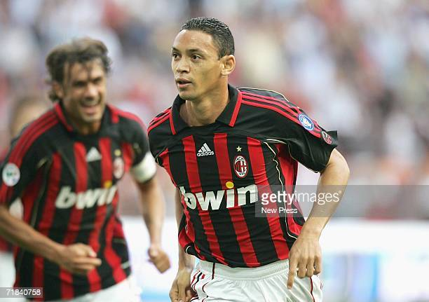 Ricardo Oliveira of Milan celebrates a goal during the Serie A match between AC Milan and Lazio held at Stadio Guiseppe Meazza San Siro on September...