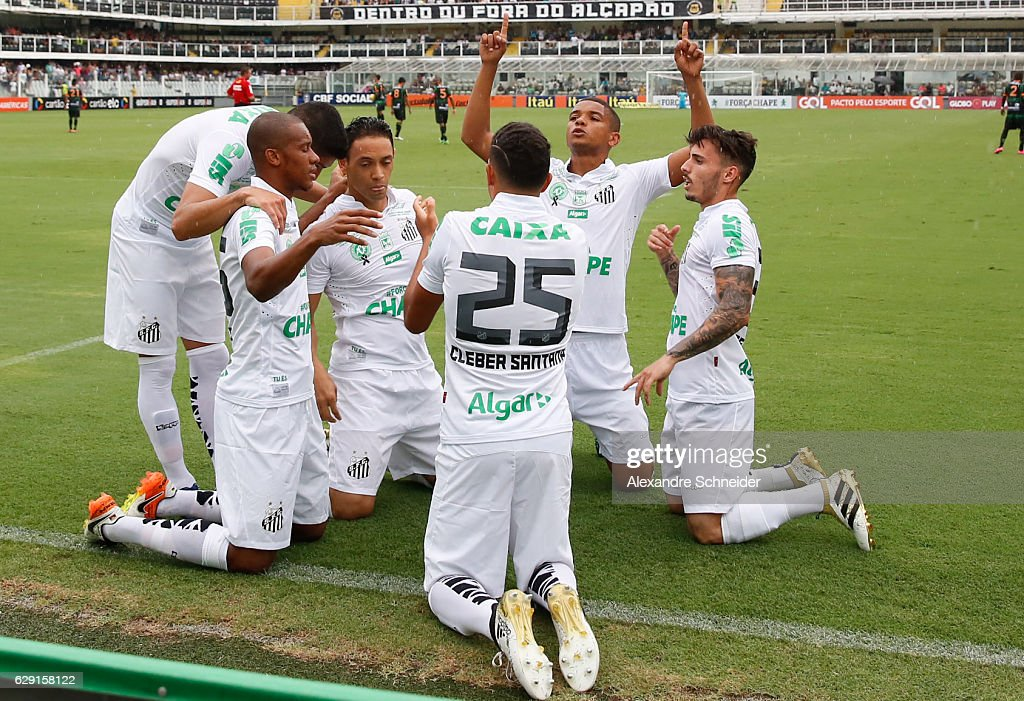 Ricardo Oliveira #9 of Santos celebrates their first goal during the match between Santos and America MG for the Brazilian Series A 2016 at Vila Belmiro stadium on December 11, 2016 in Sao Paulo, Brazil.