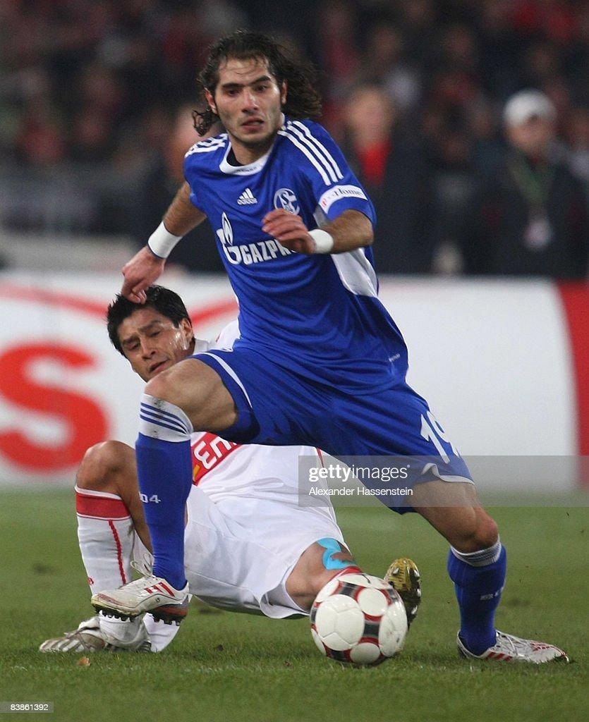 Ricardo Osorio (L) of Stuttgart battles for the ball with Halil Altintop (R) of Schalke during the Bundesliga match between VfB Stuttgart and Schalke 04 at the Mercedes Benz Stadium on November 30, 2008 in Stuttgart, Germany.