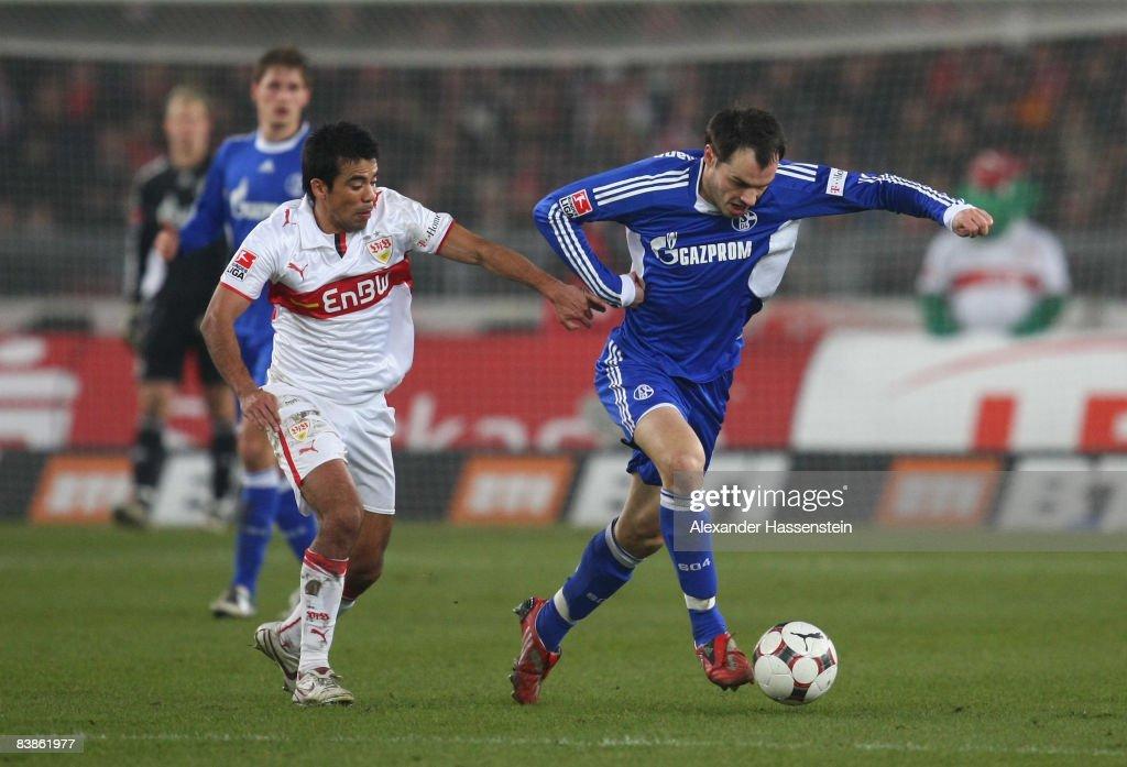 Ricardo Osorio (L) of Stuttgart battles for the ball with Heiko Westermann (R) of Schalke during the Bundesliga match between VfB Stuttgart and Schalke 04 at the Mercedes Benz Stadium on November 30, 2008 in Stuttgart, Germany.